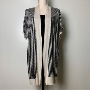 Loft Cream/Black Striped Cardigan Size Medium